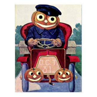 You Auto Have a Happy Halloween Postcard