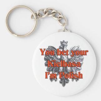 You Bet Your Kielbasa I'm Polish Basic Round Button Key Ring