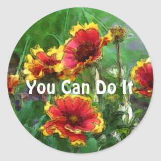You Can Do It Daisies Motivational Sticker