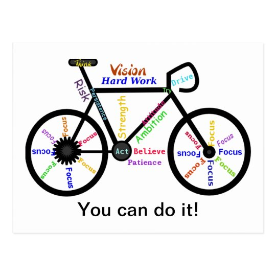 You can do it, Motivational Bike, Bicycle Cycling Postcard