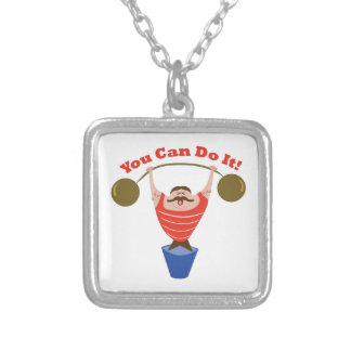 You Can Do It Square Pendant Necklace