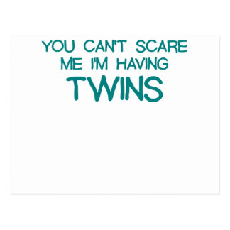 YOU CANT SCARE ME IM HAVING TWINS BLUE.png Post Cards