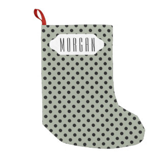 You choose background color & black polka dots small christmas stocking
