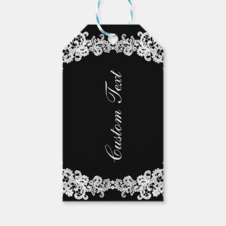 You choose background color & white lace gift tag
