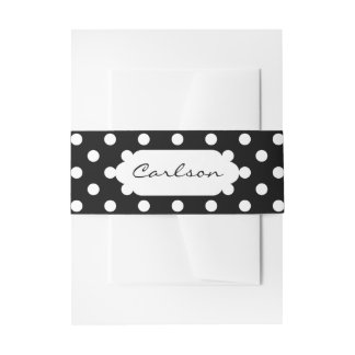 You Choose Background Color & White polka dots Invitation Belly Band