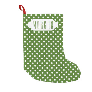 You choose background color & white polka dots small christmas stocking
