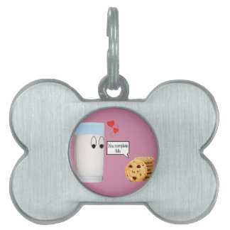 You Complete Me milk and cookies Pet ID Tag