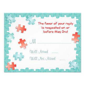 You complete me puzzle Wedding RSVP Cards Custom Invitation