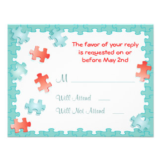 You complete me puzzle Wedding RSVP Cards Custom Invitation