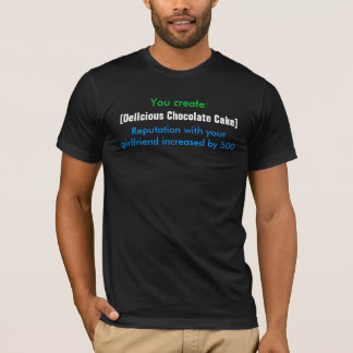 You create:, [Delicious Chocolate Cake], Reputa... T-Shirt