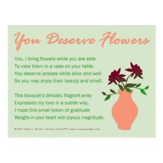 You Deserve Flowers Postcard