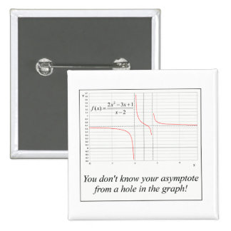 You don't know your asymptote... 15 cm square badge