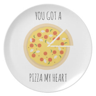 You got a pizza my heart valentine plate