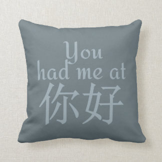 You Had Me at (Chinese Hello) throw pillows