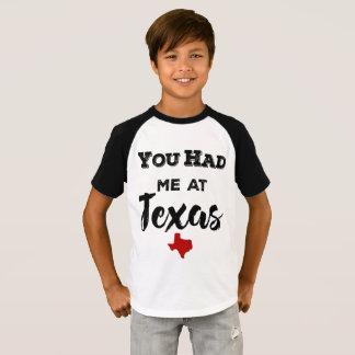 You Had Me at Texas Kids Raglan T-Shirt