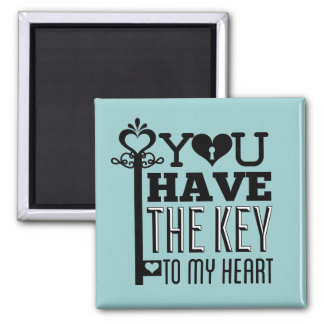 You Have the Key to My Heart Blue Refrigerator Magnet
