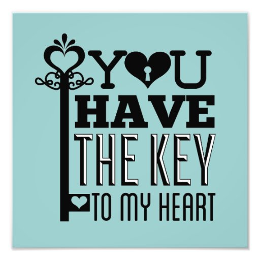 You Have the Key to My Heart Blue Photo Print