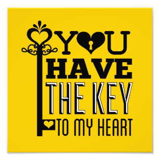 You Have the Key to My Heart Yellow Photo Print
