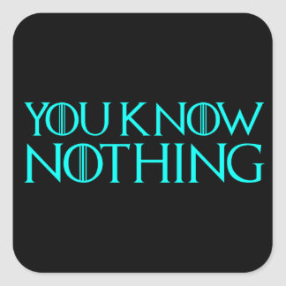 You Know Nothing In A Light Blue Font Square Sticker