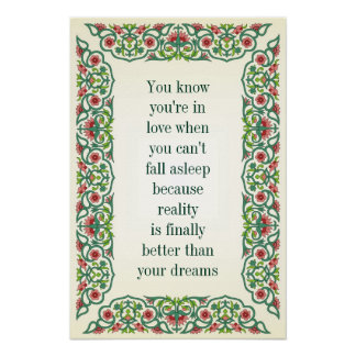 You know you're in love when you can't fall asleep poster