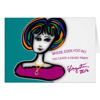 You leave a heart print -greeting card w/env