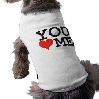 You love me sleeveless dog shirt