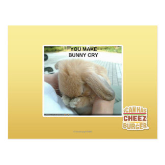 You make bunny cry postcard