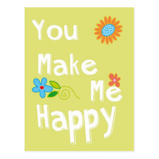 You make me happy Typography - Lime Green Postcard