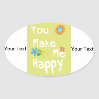 You make me happy Typography - Lime Green Stickers