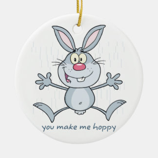 You Make Me Hoppy Bunny Rabbit Christmas Ornament