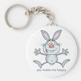You Make Me Hoppy Bunny Rabbit Key Ring