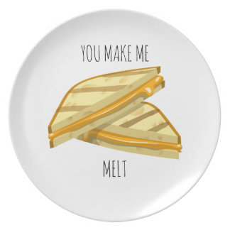 You make me melt grilled cheese Valentine plate