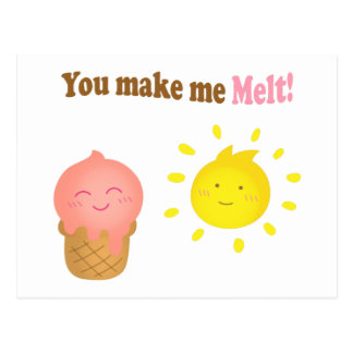 You make me melt, ice cream and sun, love humor postcard