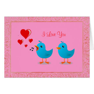You Make Me Sing Love Birds Custom Valentine Greeting Card