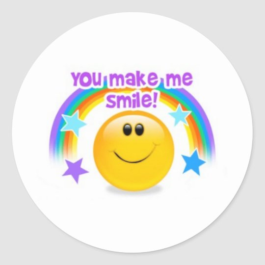 you make me smile! classic round sticker