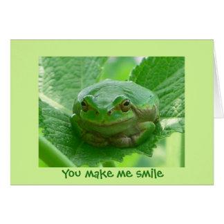 You make me smile - green frog close up greeting card