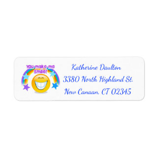You Make Me Smile Happy Face Blue Return Address Label