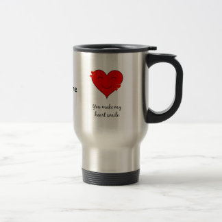 You make my heart smile custom name travel mug