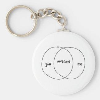 You Me Awesome Venn Diagram Basic Round Button Key Ring