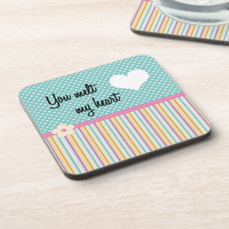 you melt my heart in teal beverage coasters