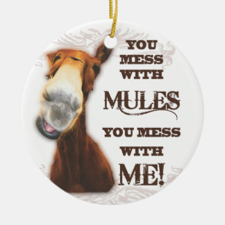 YOU MESS WITH MULES YOU MESS WITH ME ROUND CERAMIC DECORATION