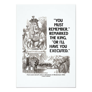 You Must Remember Or I'll Have Executed Wonderland 13 Cm X 18 Cm Invitation Card
