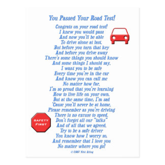 You Passed Road Test - New Driver Postcard
