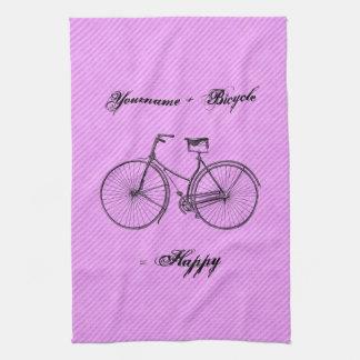 You Plus Bicycle Equal Happy Antique Lavender Pink Tea Towel