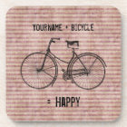 You Plus Bicycle Equals Happy Antique Bike Pink Coaster