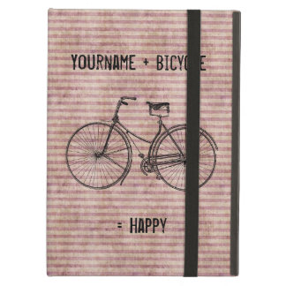You Plus Bicycle Equals Happy Antique Bike Pink iPad Air Cover