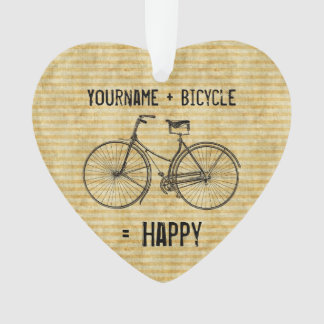 You Plus Bicycle Equals Happy Antique Bike Yellow