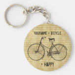 You Plus Bicycle Equals Happy Antique Bike Yellow Basic Round Button Key Ring