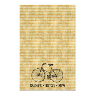 You Plus Bicycle Equals Happy Antique Bike Yellow Customised Stationery