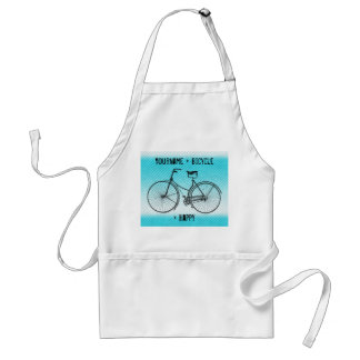 You Plus Bicycle Equals Happy Antique Stripes Aqua Standard Apron